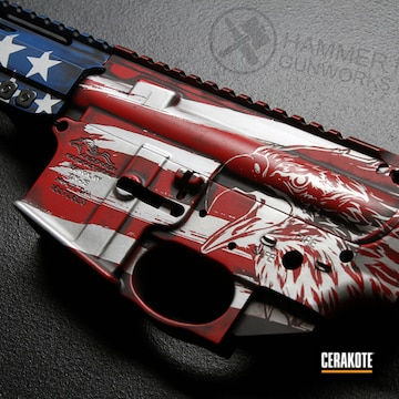 American Flag Ar Cerakoted Using Kel-tec® Navy Blue And Ruby Red