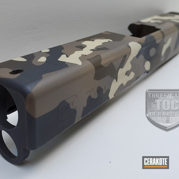 Glock Slide Coated Using Multicam® Dark Grey, Patriot Brown And Sniper Grey
