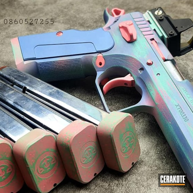 Cerakoted: S.H.O.T,9mm,Robin's Egg Blue H-175,Tanfoglio,AP COATING,apcoating,PINK SHERBET H-328,POLAR BLUE H-326