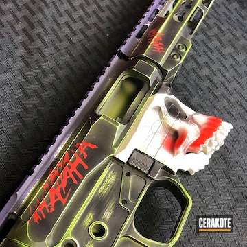 Custom Ar-15 Coated Using Wild Purple, Bright White And Usmc Red