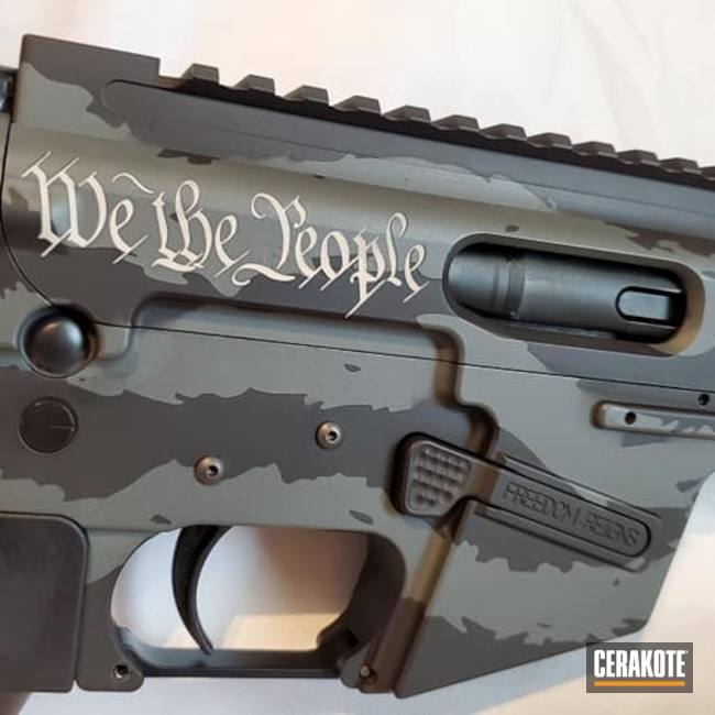 Cerakoted: S.H.O.T,9mm,AR Pistol,Graphite Black H-146,We The People Waving Flag,Tattered American Flag,Tactical Rifle,PLATINUM GREY H-337,We the people,Tattered Flag