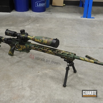 Cerakoted Woodland Camo Bolt Action Rifle