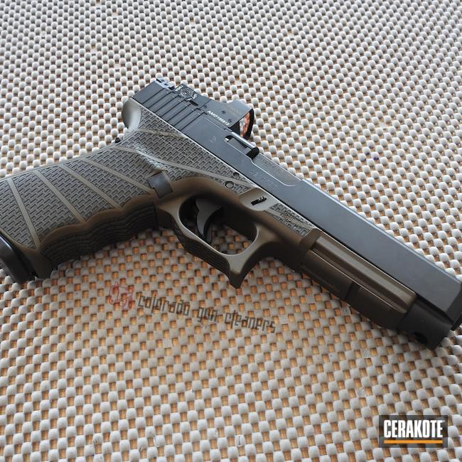 Cerakoted: S.H.O.T,Laser Stippled,.45,Graphite Black H-146,41,Burnt Bronze H-148,Pistol,Glock,Glock 41
