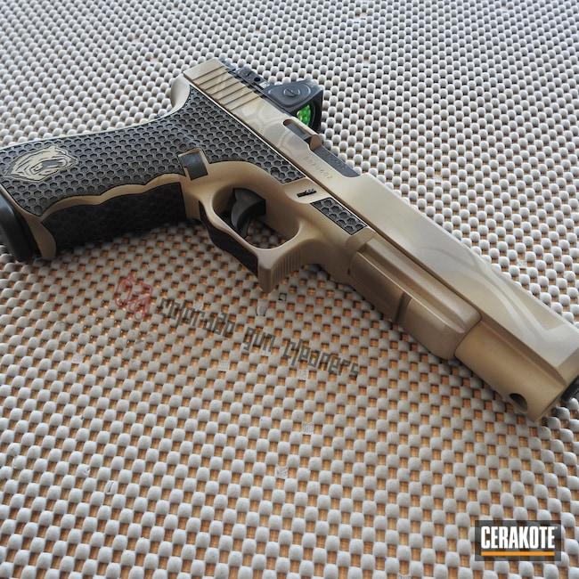 Cerakoted: S.H.O.T,Laser Stippled,10mm,Kryptek,Patriot Brown H-226,Pistol,BENELLI® SAND H-143,Glock,Glock 40,Laser Engrave