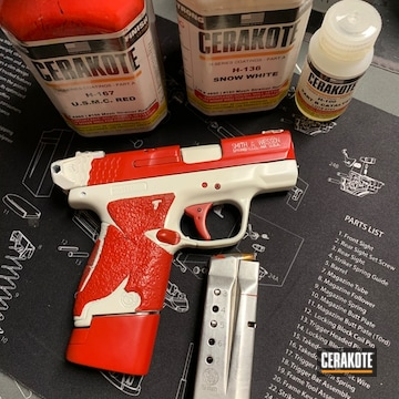 Smith And Wesson 9mm Shield Coated Using Snow White And Usmc Red