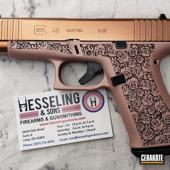 Cerakoted: S.H.O.T,Glock 48,9mm,Engraved,#custom,Gloss Black H-109,Guns And Roses,Roses,Glock,ROSE GOLD H-327