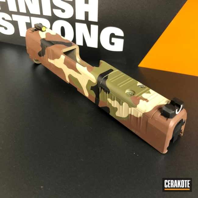 Springfield Armory Woodland Camo Slide Coated Using Noveske Bazooka Green, Fs Brown Sand And Federal Brown