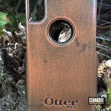 Aged Copper Patina Phone Case Coated Using Matte Ceramic Clear, Graphite Black And Copper