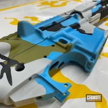 Multi-cam Ar-15 Coated Using Hidden White, Blue Raspberry And Multicam® Light Green