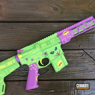 Joker Theme Ar-15 Coated Using Crimson, Wild Purple And Zombie Green