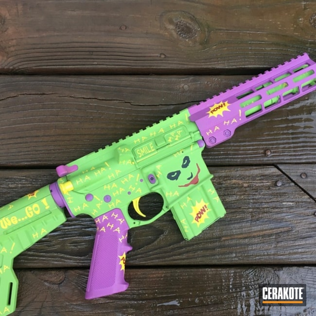 Joker Theme Ar-15 Coated Using Crimson, Wild Purple And Zombie Green