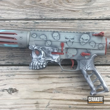 Skull Theme Ar-15 Finish Coated Using Hidden White, Crimson And Smith & Wesson® Grey