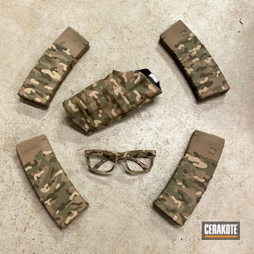 Multicam Safari Theme Magazines, Glasses And Holster Coated Using Chocolate Brown, Multicam® Olive And Multicam® Dark Green