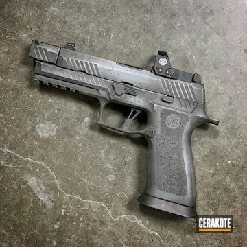 Distressed Sig P320 Cerakoted Using Sig™ Dark Grey, Graphite Black And Smith & Wesson® Grey