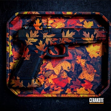 Fall Leaves Theme Pistol Cerakoted Using Graphite Black