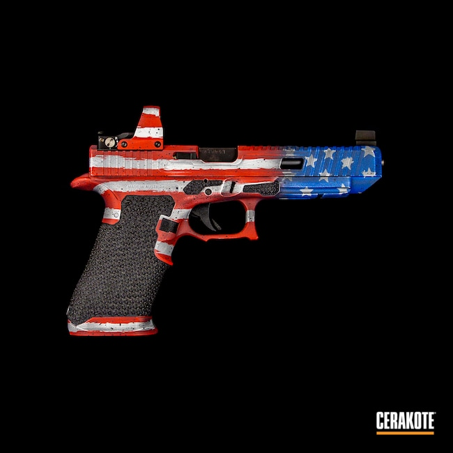 Cerakoted: S.H.O.T,NRA Blue H-171,slidework,Glock 34,USA,Stormtrooper White H-297,USMC Red H-167,Glock,American Flag,Frame Work