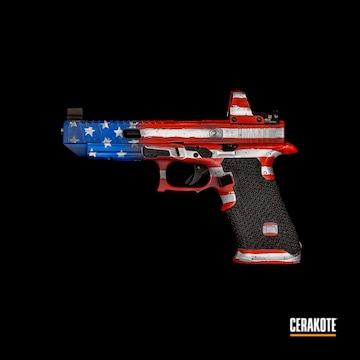 Unites States Flag Themed Glock Cerakoted Using Stormtrooper White, Usmc Red And Nra Blue