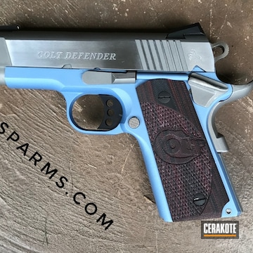 Colt Defender 45 Cerakoted Using Polar Blue