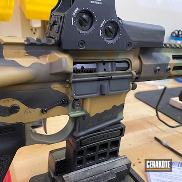 Multicam Ar Build Cerakoted Using Noveske Tiger Eye Brown, Patriot Brown And Graphite Black