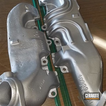 Exhaust Manifold Coated Using Cerakote Glacier Black And Cerakote Glacier Silver