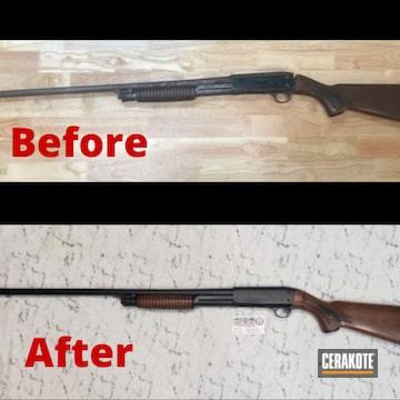 Shotgun Restoration Project Cerakoted Using Midnight Blue