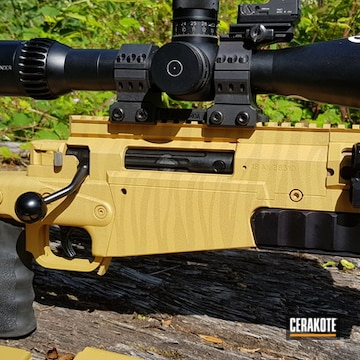 338 Axmc Rife Cerakoted Using Burnt Bronze And Gold