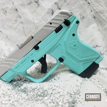 Ruger Lcp2 Cerakoted Using Satin Aluminum And Robin's Egg Blue