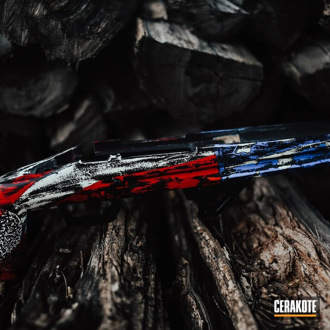 Cerakoted: S.H.O.T,Rifle Stock,Manners,Graphite Black C-102,BLUE FLAME C-158,American Flag,Bright White C-140,STOPLIGHT RED C-143