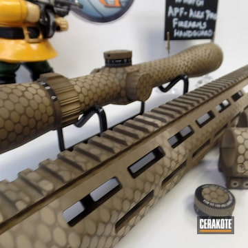 Honeycomb Pattern On A Custom Leupold Scope And Hand Guard Cerakoted Using Barrett® Brown, Desert Sand And Flat Dark Earth