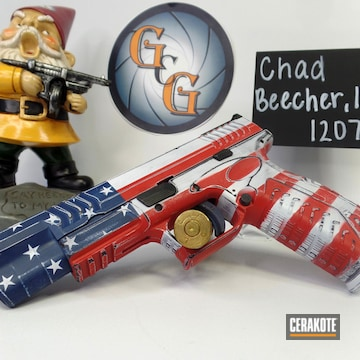 Distressed American Flag Springfield 45 Pistol Cerakoted Using Kel-tec® Navy Blue, Stormtrooper White And Smith & Wesson® Red