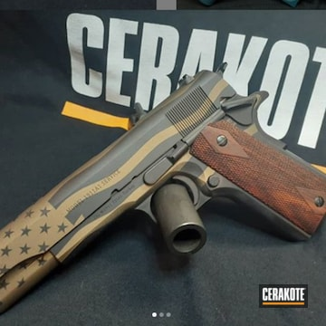 1911 Cerakoted Using Burnt Bronze And Armor Black