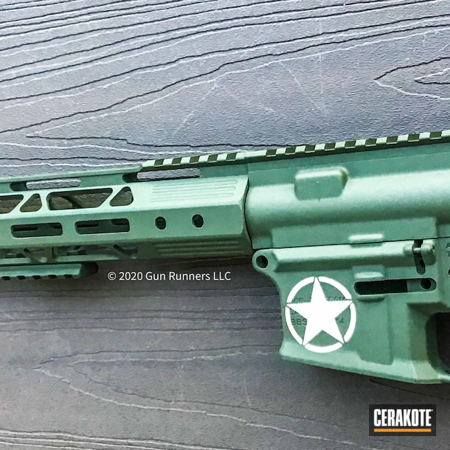 Cerakoted: S.H.O.T,Handguard,Stormtrooper White H-297,O.D. Green H-236,Upper,US Army,Star