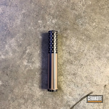United States Flag Themed Suppressor Cerakoted Using Jet Black And Flat Dark Earth