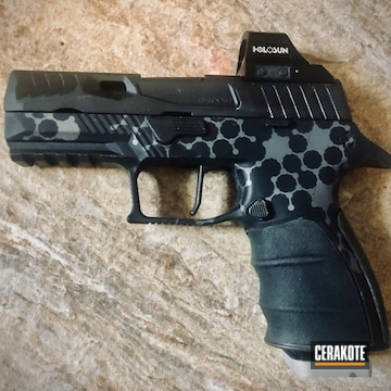 Molecular Theme Sig P320 Cerakoted Using Tactical Grey And Cerakote Glacier Black