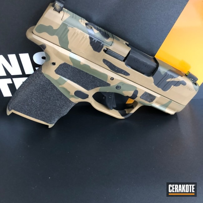 Springfield Armory Hellcat Cerakoted Using Barrett® Brown, Noveske Bazooka Green And Graphite Black