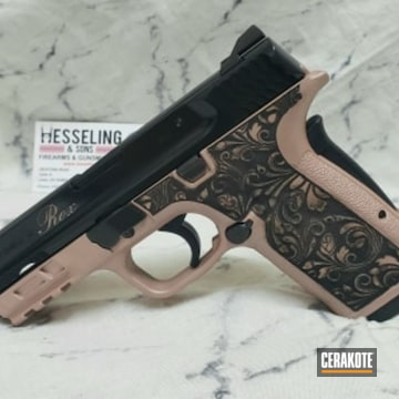 M&p 380 Ez Cerakoted Using Rose Gold And Gloss Black