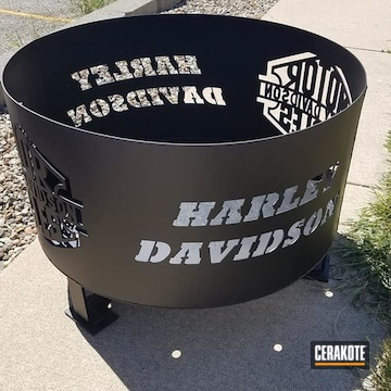 Steel Outdoors Fire Pit Cerakoted Using Cerakote Glacier Black