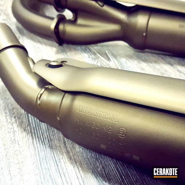 Cerakoted: Custom Paint,Exhaust,Motorcycles,Burnt Bronze C-148,Automotive,Automotive Exhaust,Custom Cerakote
