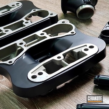 Motorcycle Engine Parts Cerakoted Using Cerakote Glacier Black