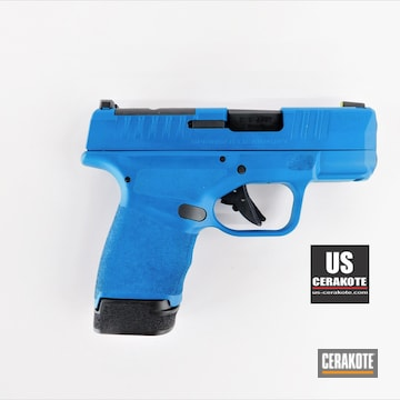 9mm Springfield Hellcat Cerakoted Using Sky Blue