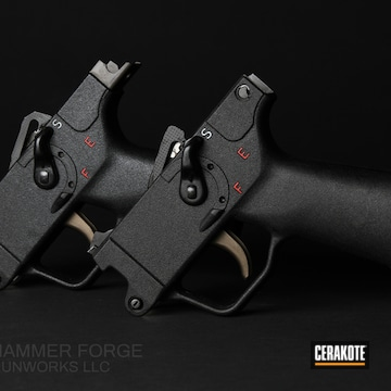 Mp5 Trigger Cerakoted Using Midnight Bronze, Snow White And Ruby Red