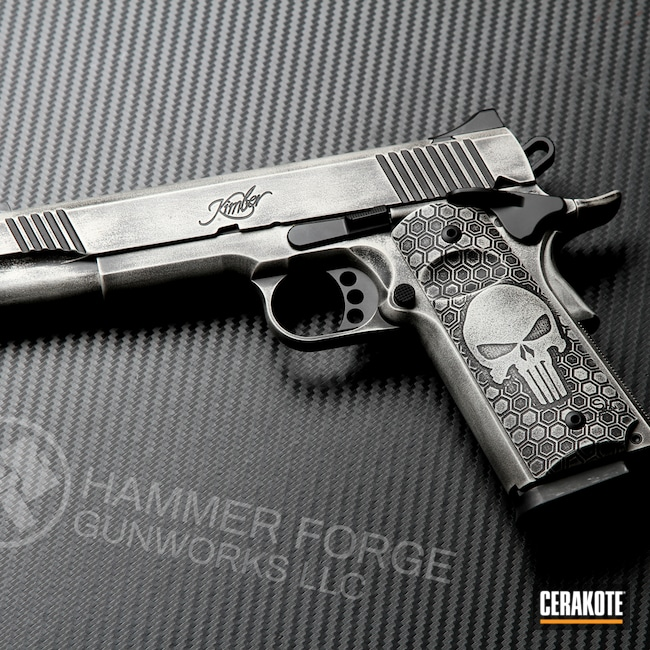 Cerakoted: S.H.O.T,Punisher,Battleworn,Snow White H-136,Kimber 1911,Battleforged,Graphite Black H-146,Kimber