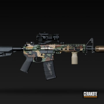 Multicam Tactical Rifle Cerakoted Using Highland Green, Chocolate Brown And Graphite Black