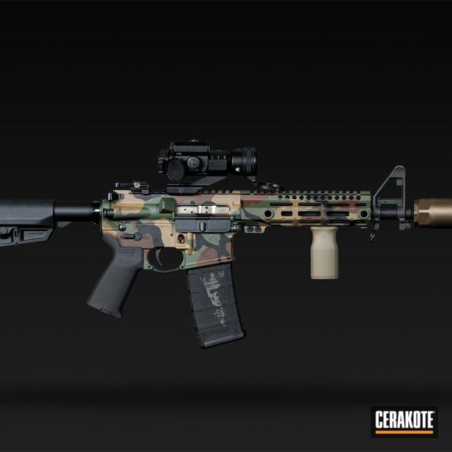 Cerakoted: S.H.O.T,M81,Highland Green H-200,MAGPUL® FLAT DARK EARTH H-267,Woodland Camo,Graphite Black H-146,Full Auto,Rex Silentium,Tactical Rifle,M4 Carbine,Chocolate Brown H-258