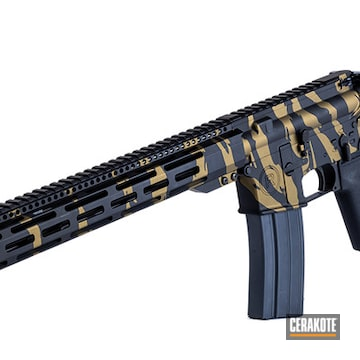 Tiger Striped Ar-15 Cerakoted Using Graphite Black And Burnt Bronze