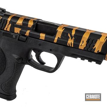Tiger Striped M&p 45 Cerakoted Using Graphite Black And Copper