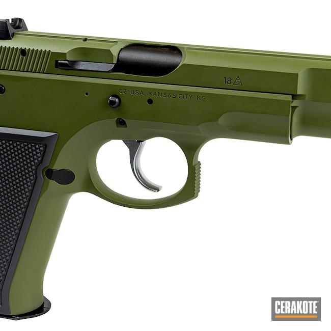 Cerakoted: S.H.O.T,Sniper Grey H-234,9x19,CZ 75,Pistol,CZ,MULTICAM® DARK GREEN H-341