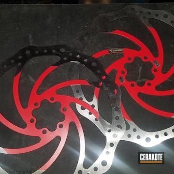 Mountain Bike Disc Brakes Cerakoted Using Usmc Red