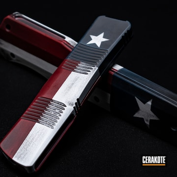 Distressed Texas Flag Knife Cerakoted Using Ridgeway Blue, Bright White And Graphite Black