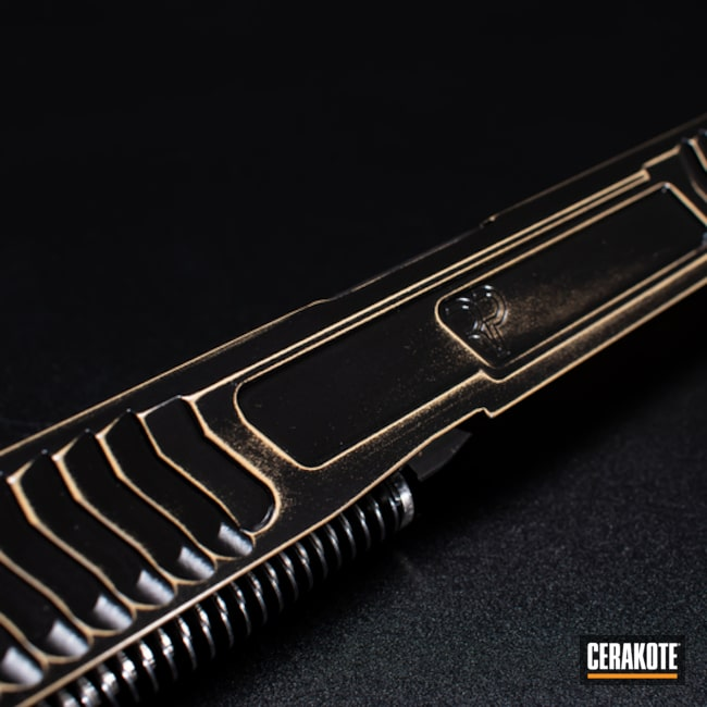 Glock Slide Cerakoted Using Bright Nickel, High Gloss Ceramic Clear And Graphite Black